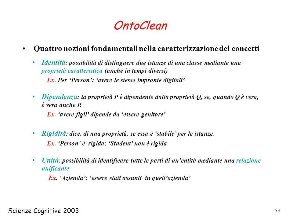 OntoClean Quattro nozioni fondamentali nella caratterizzazione dei concetti.