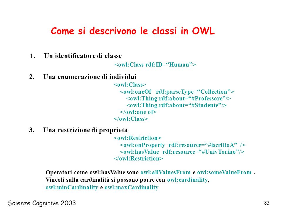 Come si descrivono le classi in OWL