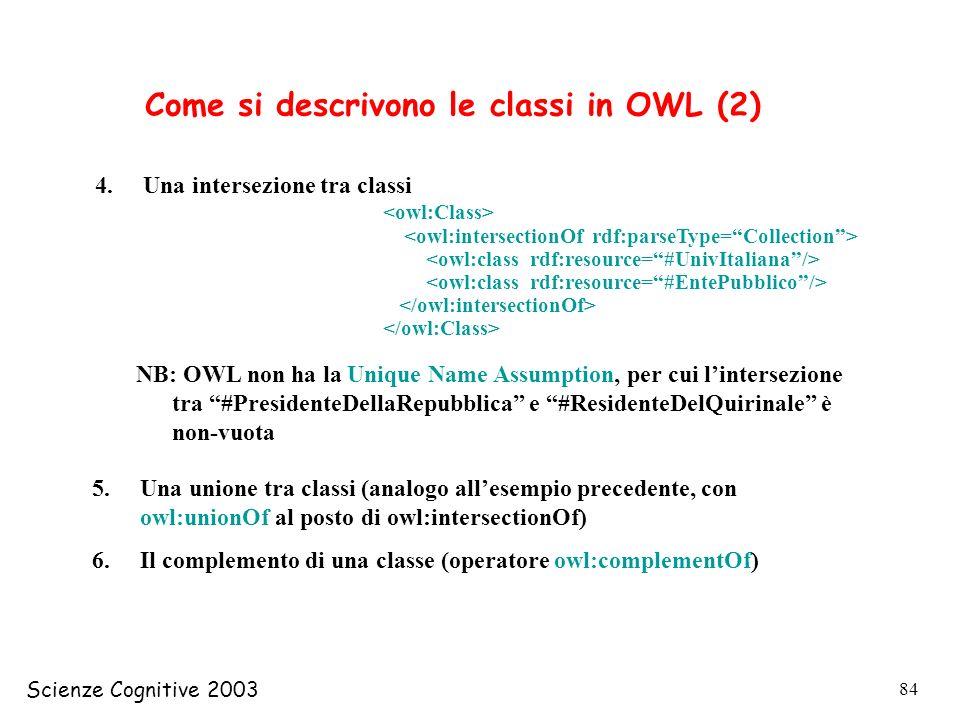 Come si descrivono le classi in OWL (2)