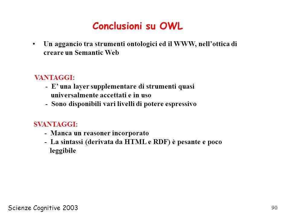 Conclusioni su OWL Un aggancio tra strumenti ontologici ed il WWW, nell'ottica di creare un Semantic Web.