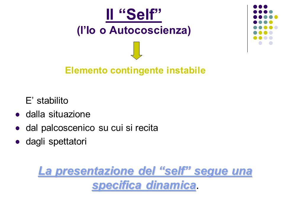 Il Self (l'Io o Autocoscienza) Elemento contingente instabile