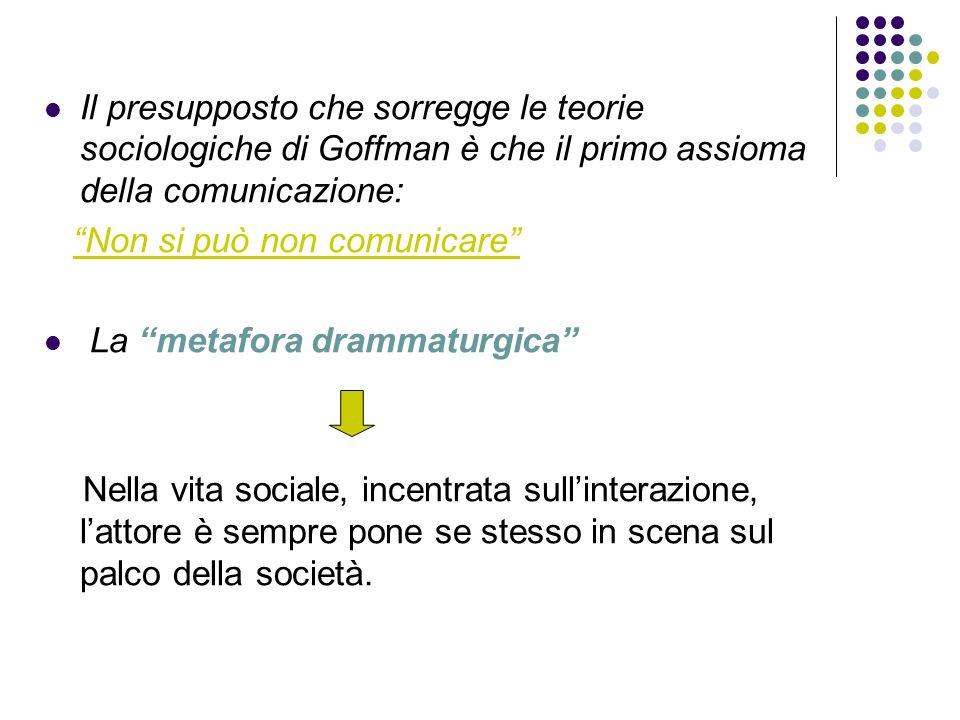 Il presupposto che sorregge le teorie sociologiche di Goffman è che il primo assioma della comunicazione: