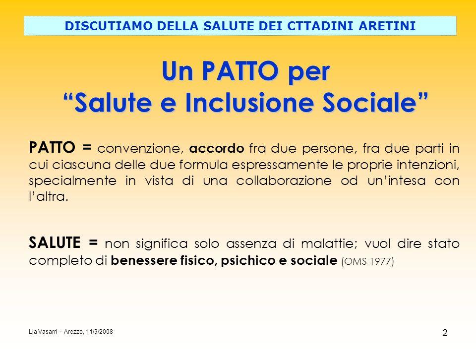 Un PATTO per Salute e Inclusione Sociale