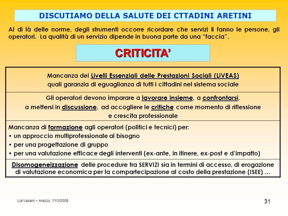 CRITICITA' DISCUTIAMO DELLA SALUTE DEI CTTADINI ARETINI