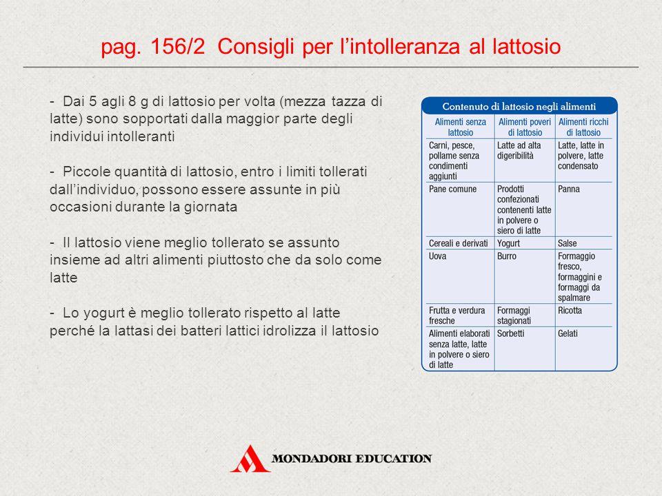 pag. 156/2 Consigli per l'intolleranza al lattosio