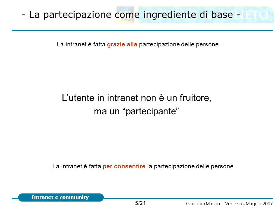 L'utente in intranet non è un fruitore, ma un partecipante
