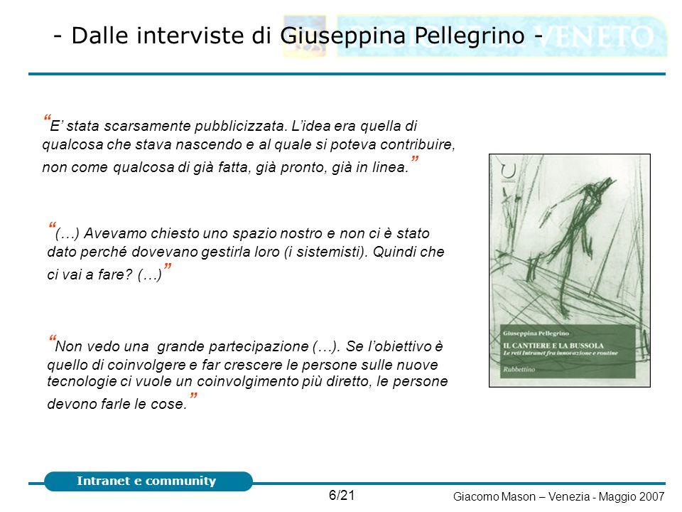 - Dalle interviste di Giuseppina Pellegrino -