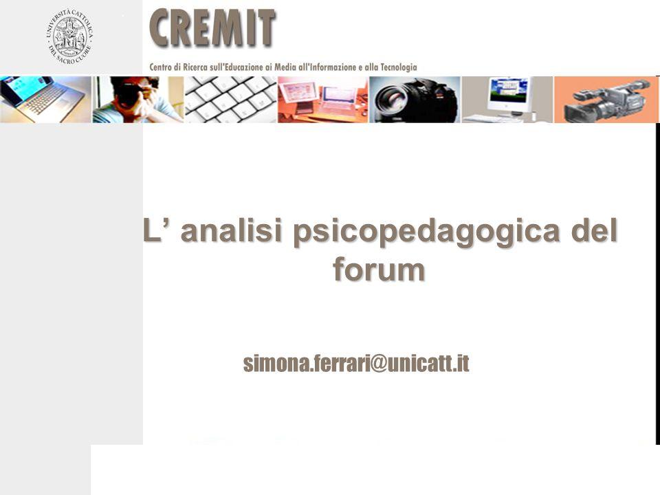 L' analisi psicopedagogica del forum