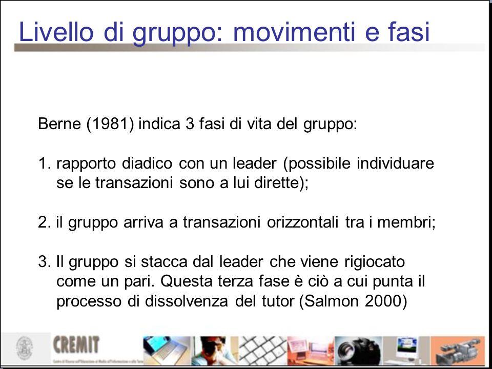 Livello di gruppo: movimenti e fasi