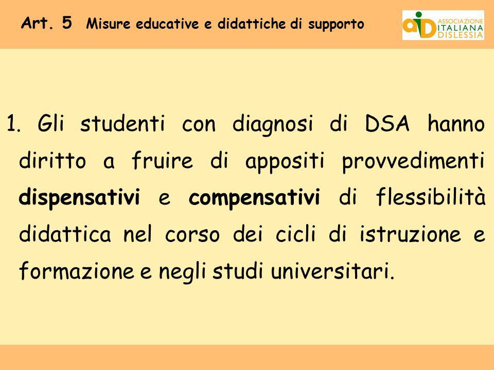 Art. 5 Misure educative e didattiche di supporto