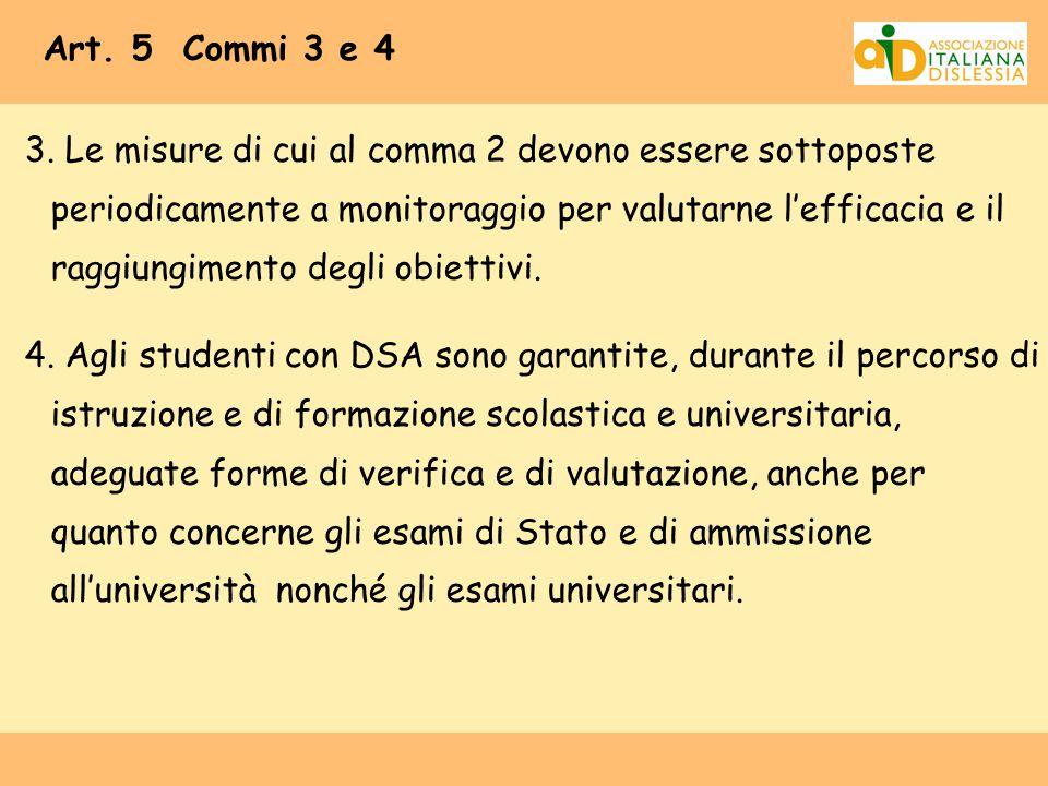 Art. 5 Commi 3 e 4