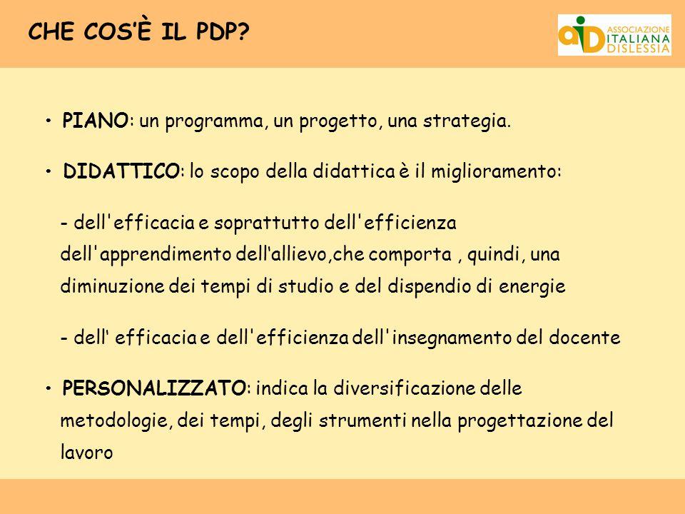 CHE COS'È IL PDP • PIANO: un programma, un progetto, una strategia.