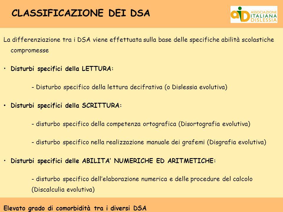 CLASSIFICAZIONE DEI DSA