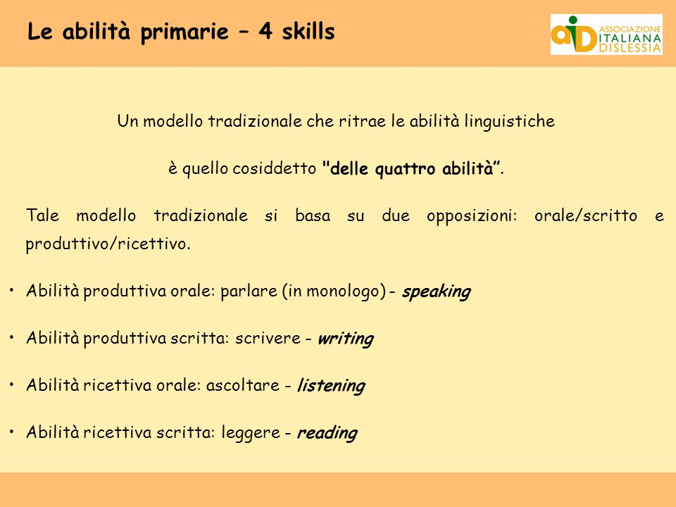 Le abilità primarie – 4 skills