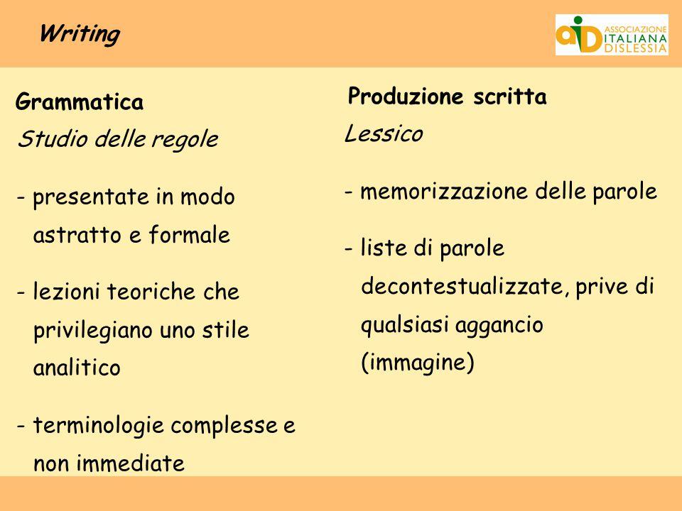 Writing Produzione scritta. Grammatica.