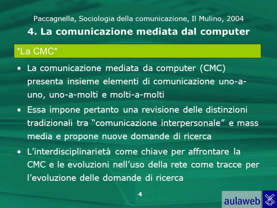 Paccagnella, Sociologia della comunicazione, Il Mulino, 2004 4