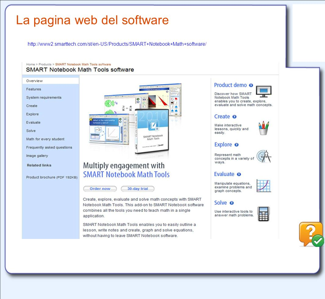 La pagina web del software