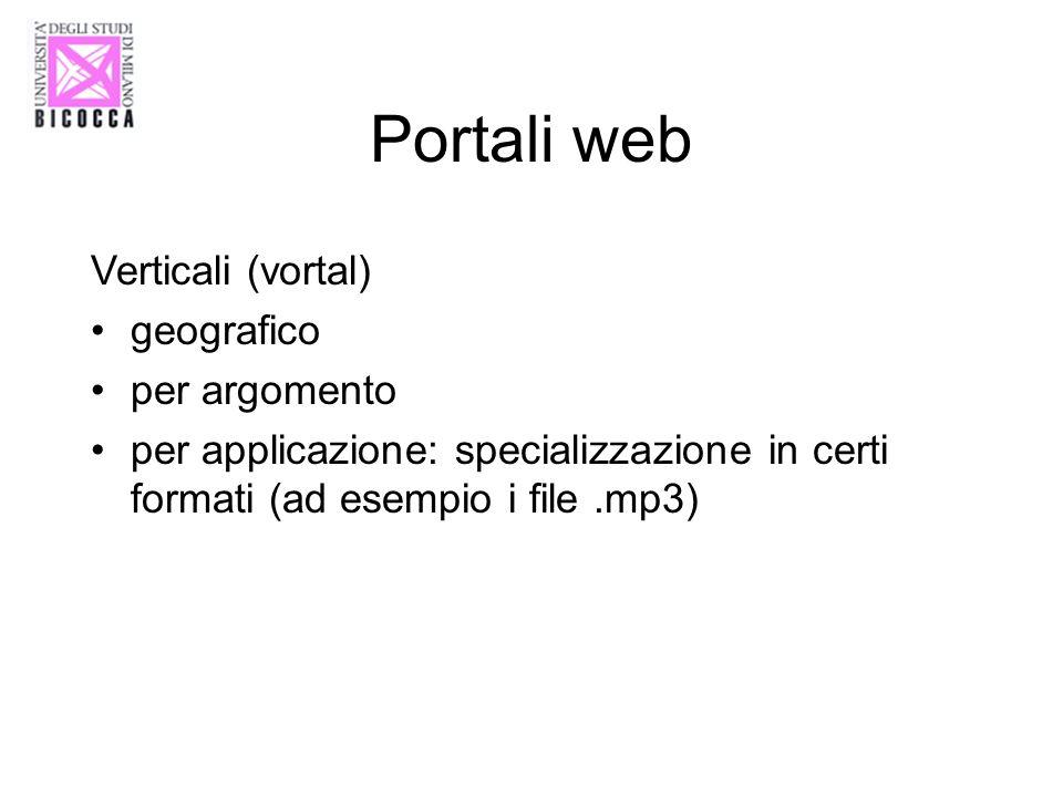 Portali web Verticali (vortal) geografico per argomento