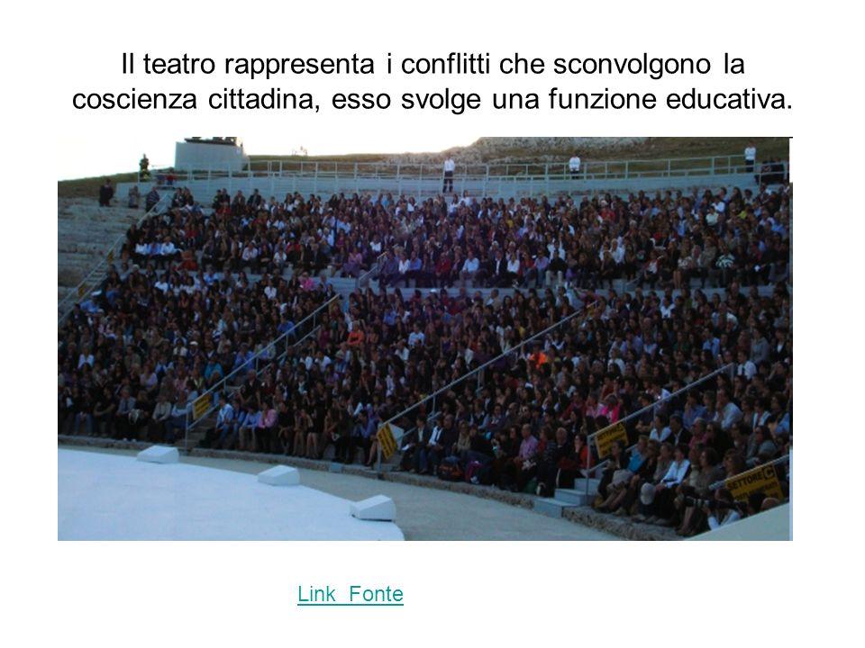 Il teatro rappresenta i conflitti che sconvolgono la coscienza cittadina, esso svolge una funzione educativa.