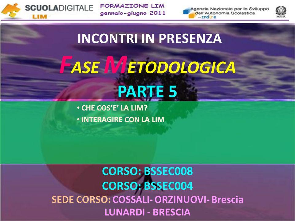 INCONTRI IN PRESENZA FASE METODOLOGICA PARTE 5