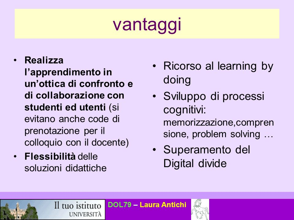 vantaggi Ricorso al learning by doing