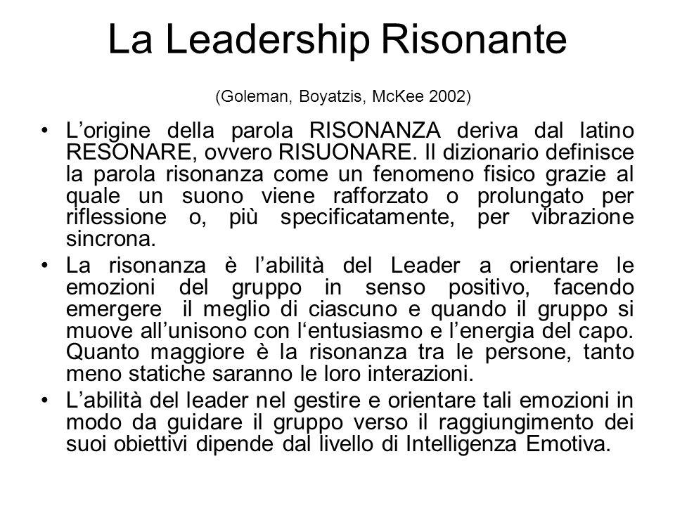 La Leadership Risonante (Goleman, Boyatzis, McKee 2002)