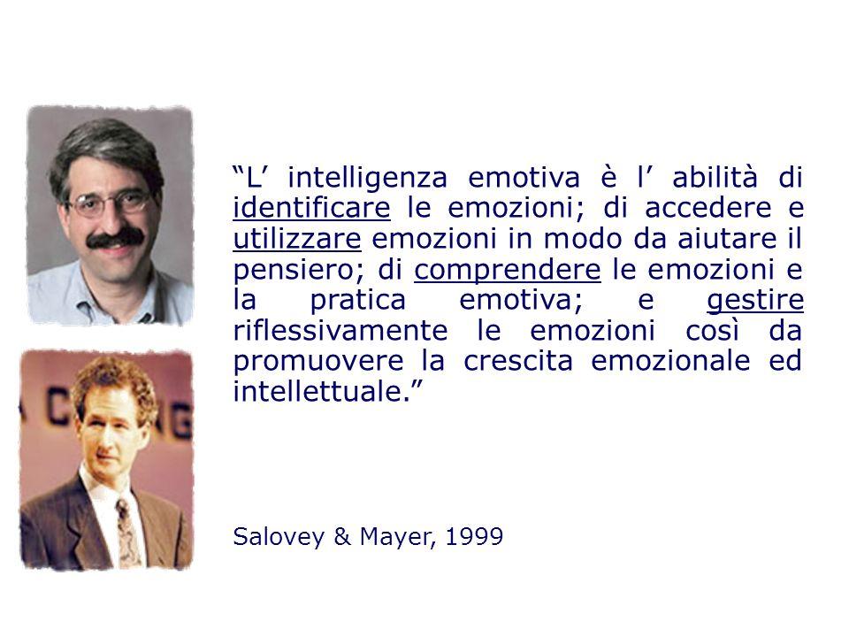 L' intelligenza emotiva è l' abilità di identificare le emozioni; di accedere e utilizzare emozioni in modo da aiutare il pensiero; di comprendere le emozioni e la pratica emotiva; e gestire riflessivamente le emozioni così da promuovere la crescita emozionale ed intellettuale.