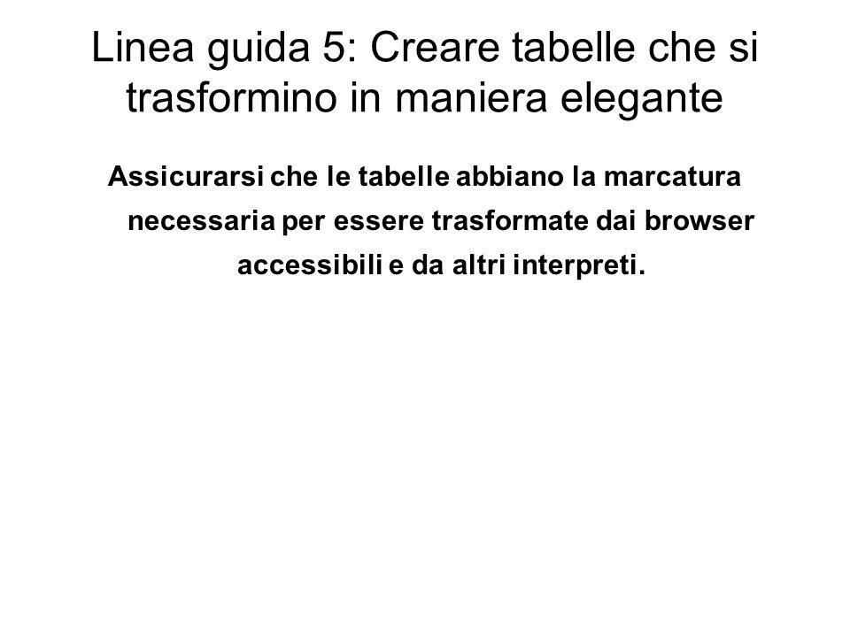 Linea guida 5: Creare tabelle che si trasformino in maniera elegante
