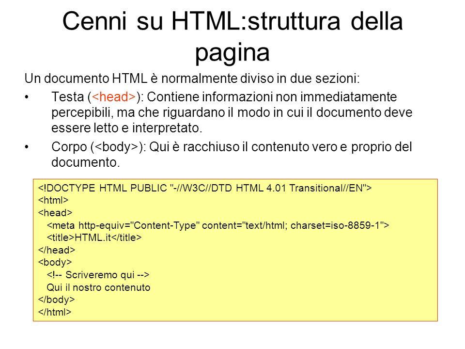 Cenni su HTML:struttura della pagina