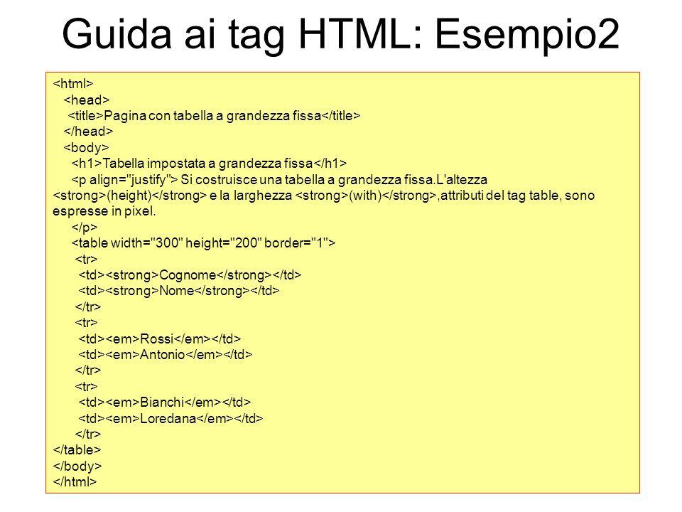 Guida ai tag HTML: Esempio2