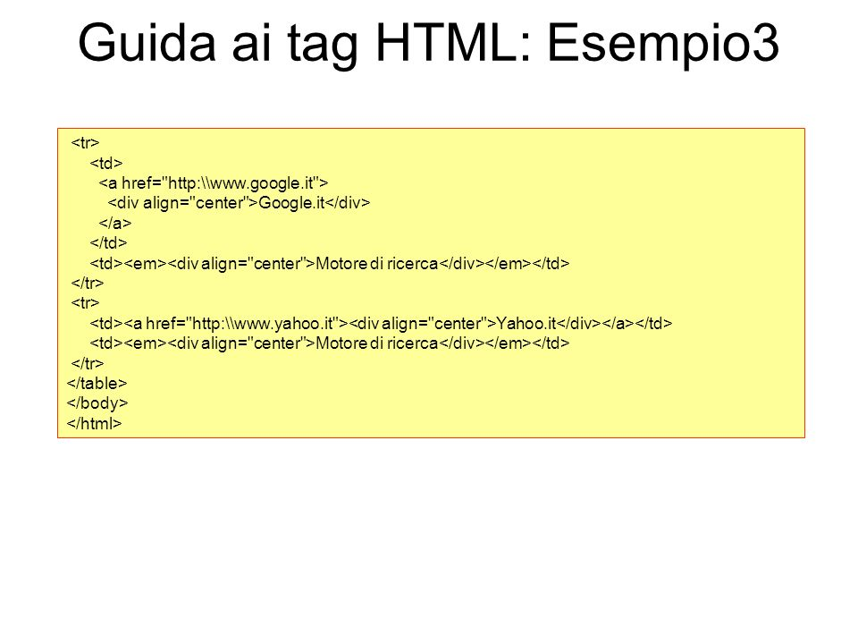 Guida ai tag HTML: Esempio3