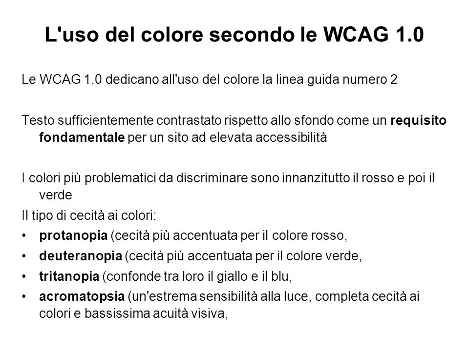 L uso del colore secondo le WCAG 1.0