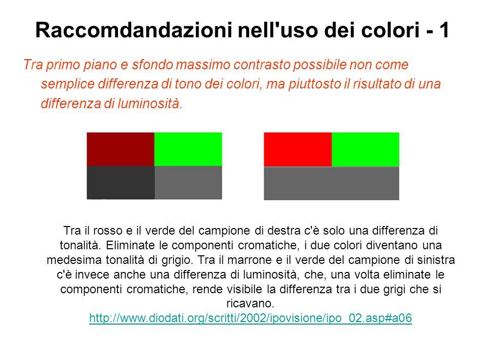 Raccomdandazioni nell uso dei colori - 1