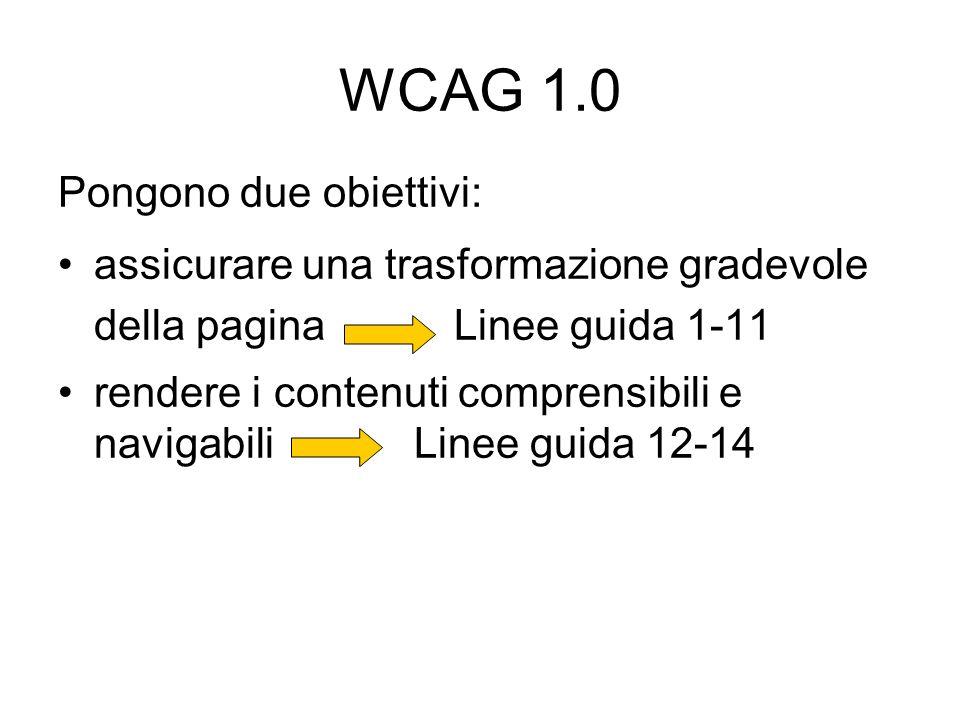 WCAG 1.0 Pongono due obiettivi:
