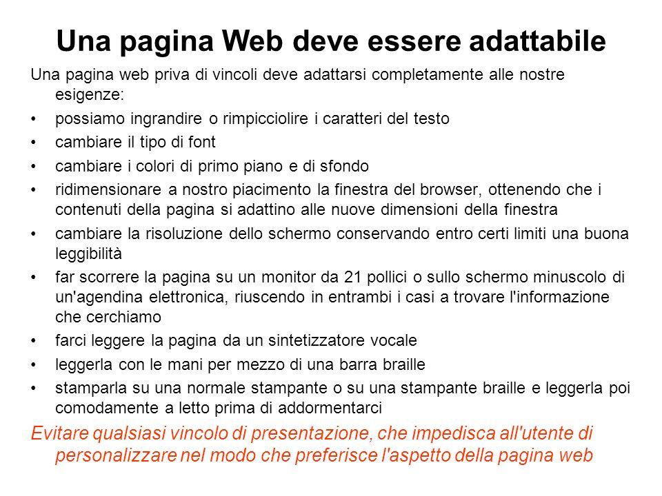 Una pagina Web deve essere adattabile
