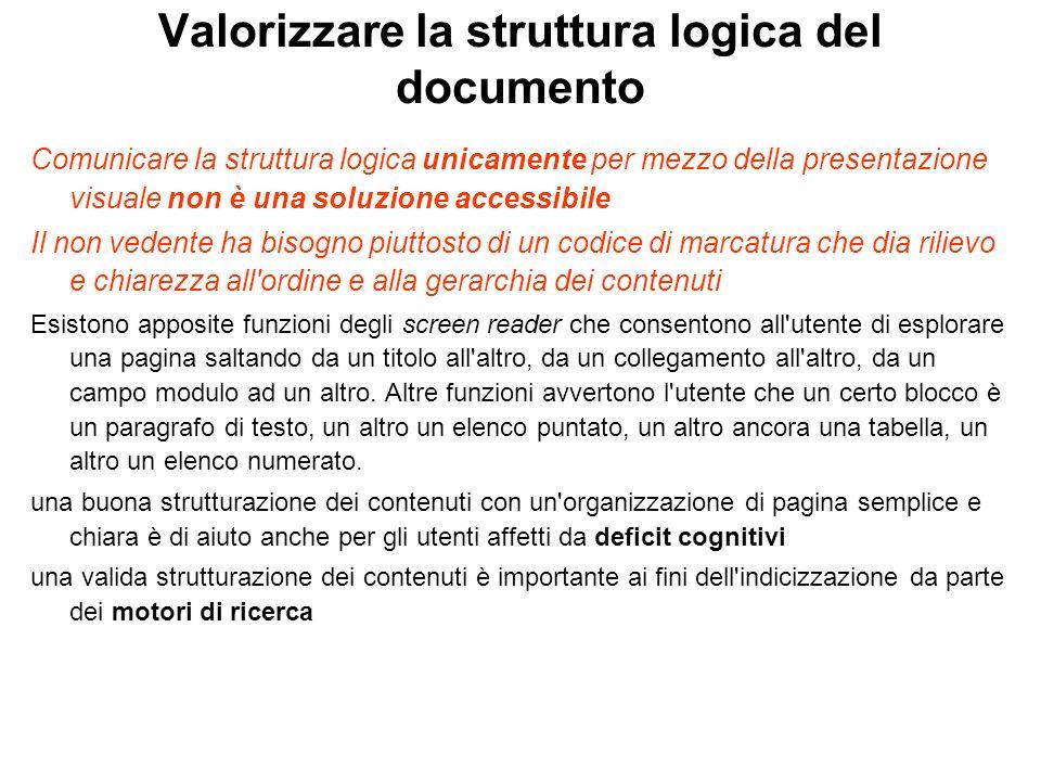 Valorizzare la struttura logica del documento