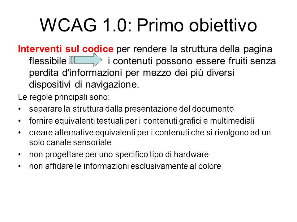 WCAG 1.0: Primo obiettivo