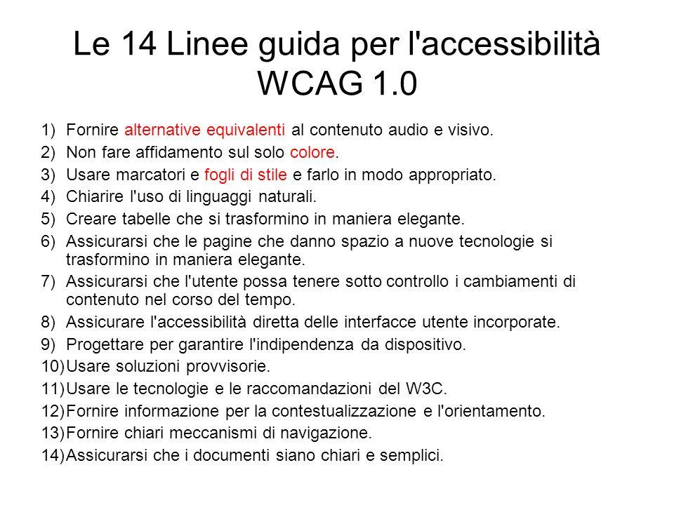Le 14 Linee guida per l accessibilità WCAG 1.0