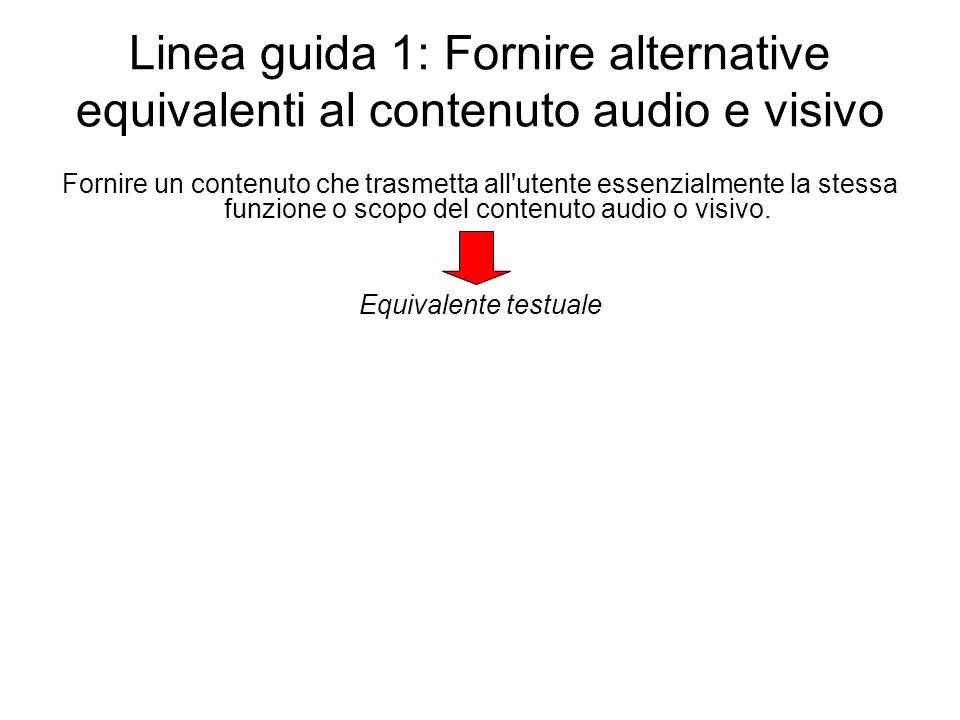 Linea guida 1: Fornire alternative equivalenti al contenuto audio e visivo