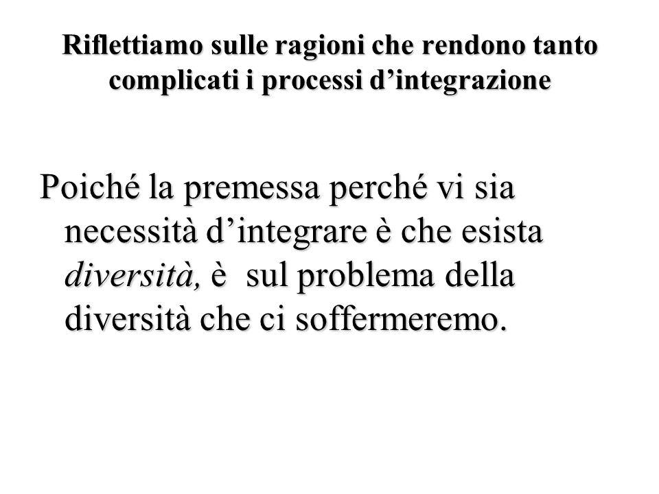 Riflettiamo sulle ragioni che rendono tanto complicati i processi d'integrazione