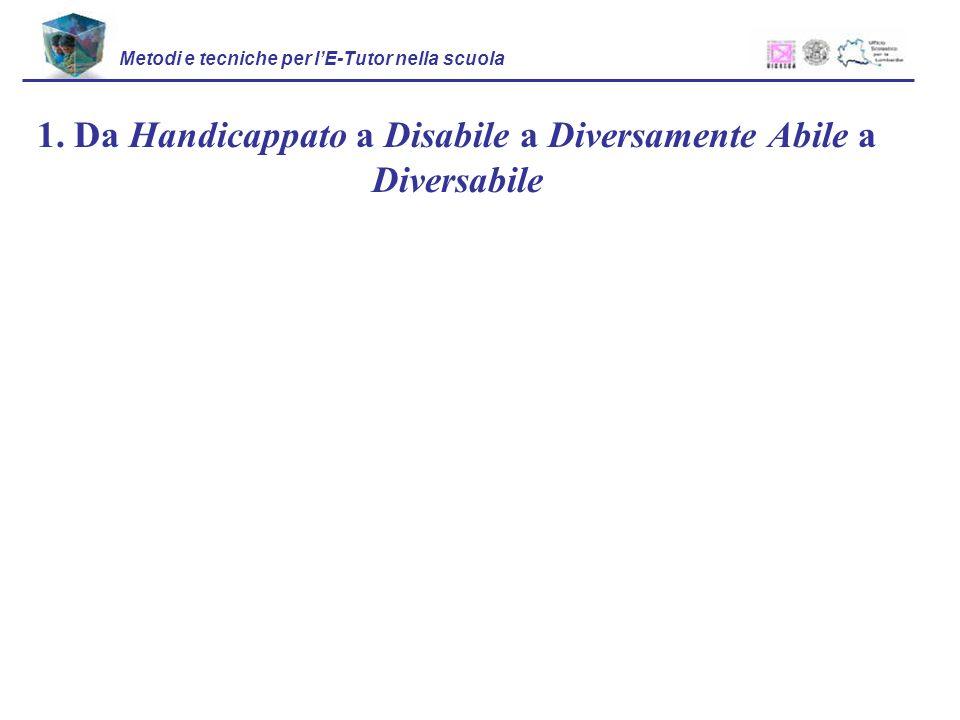 1. Da Handicappato a Disabile a Diversamente Abile a Diversabile