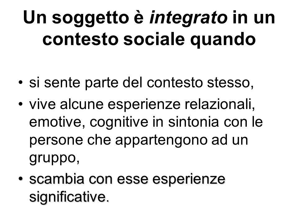 Un soggetto è integrato in un contesto sociale quando