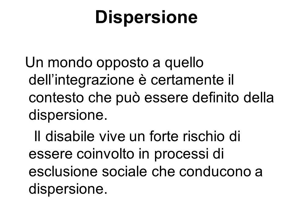 Dispersione Un mondo opposto a quello dell'integrazione è certamente il contesto che può essere definito della dispersione.