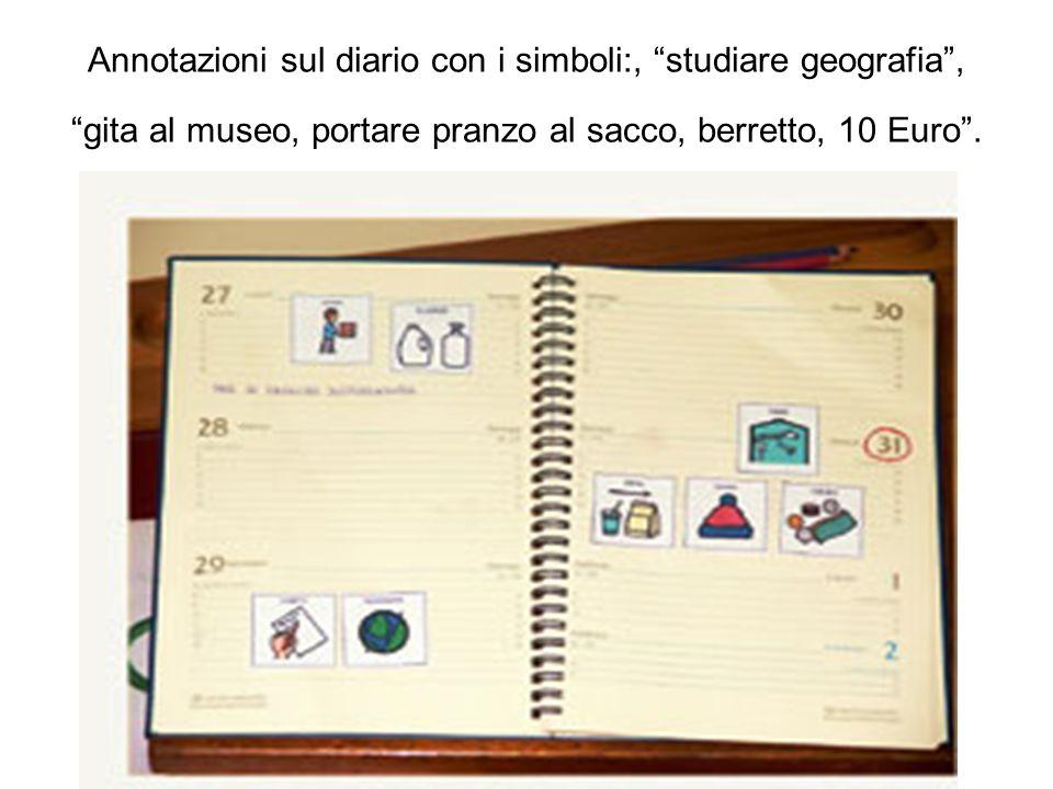 Annotazioni sul diario con i simboli:, studiare geografia , gita al museo, portare pranzo al sacco, berretto, 10 Euro .