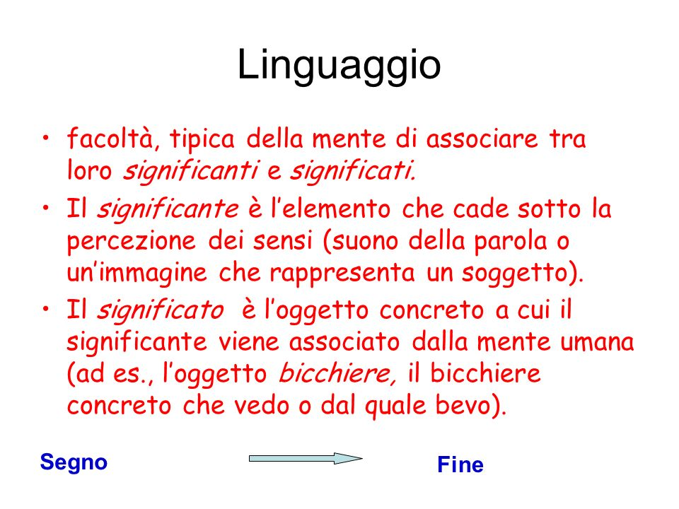 Linguaggio facoltà, tipica della mente di associare tra loro significanti e significati.