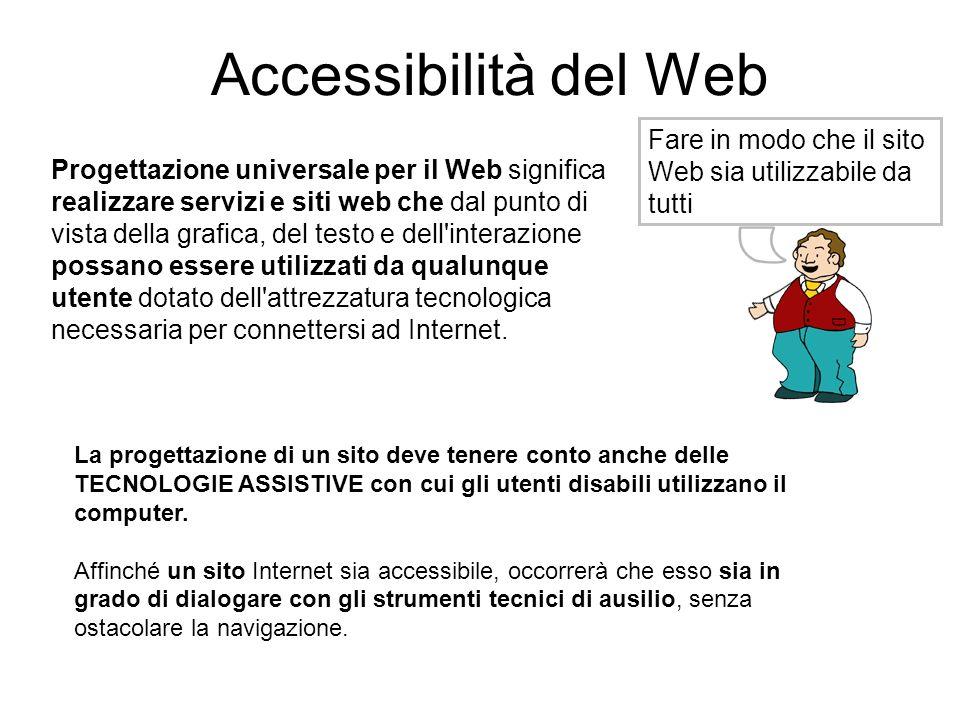 Accessibilità del Web Fare in modo che il sito Web sia utilizzabile da tutti.