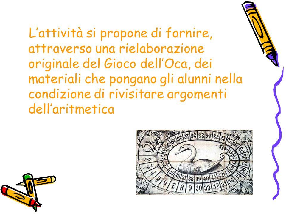 L'attività si propone di fornire, attraverso una rielaborazione originale del Gioco dell'Oca, dei materiali che pongano gli alunni nella condizione di rivisitare argomenti dell'aritmetica