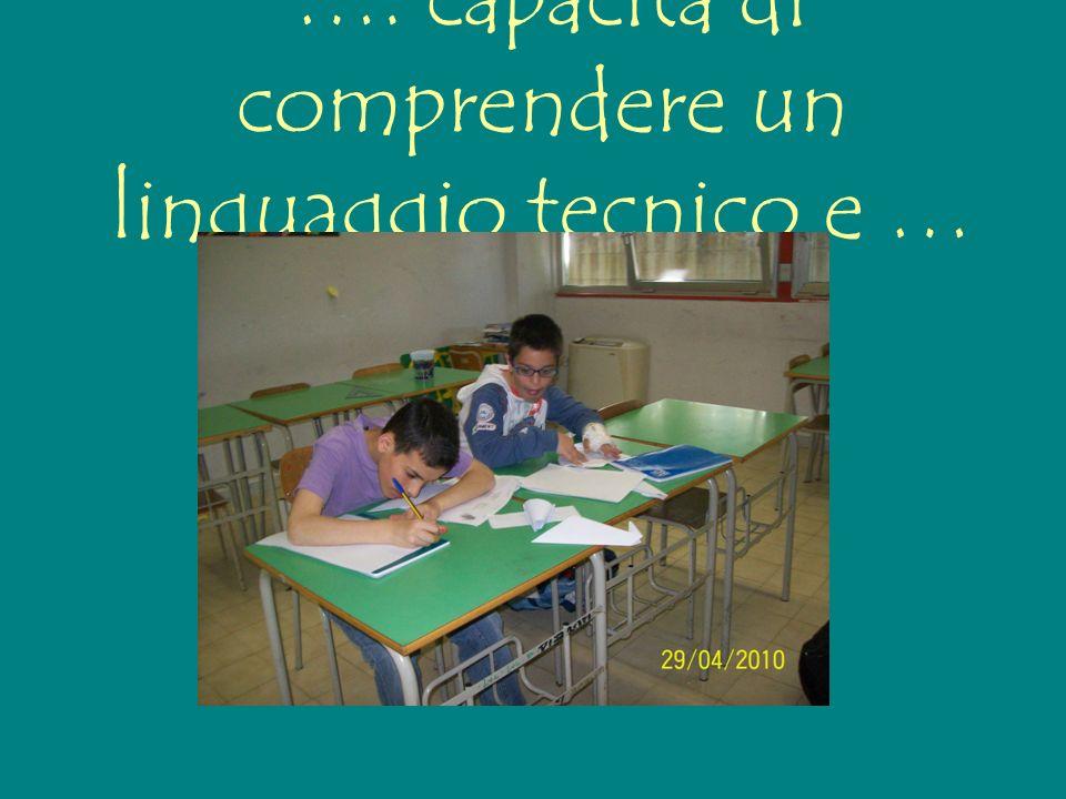…. capacità di comprendere un linguaggio tecnico e …