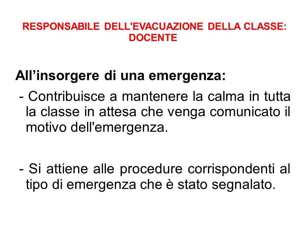 RESPONSABILE DELL EVACUAZIONE DELLA CLASSE: DOCENTE