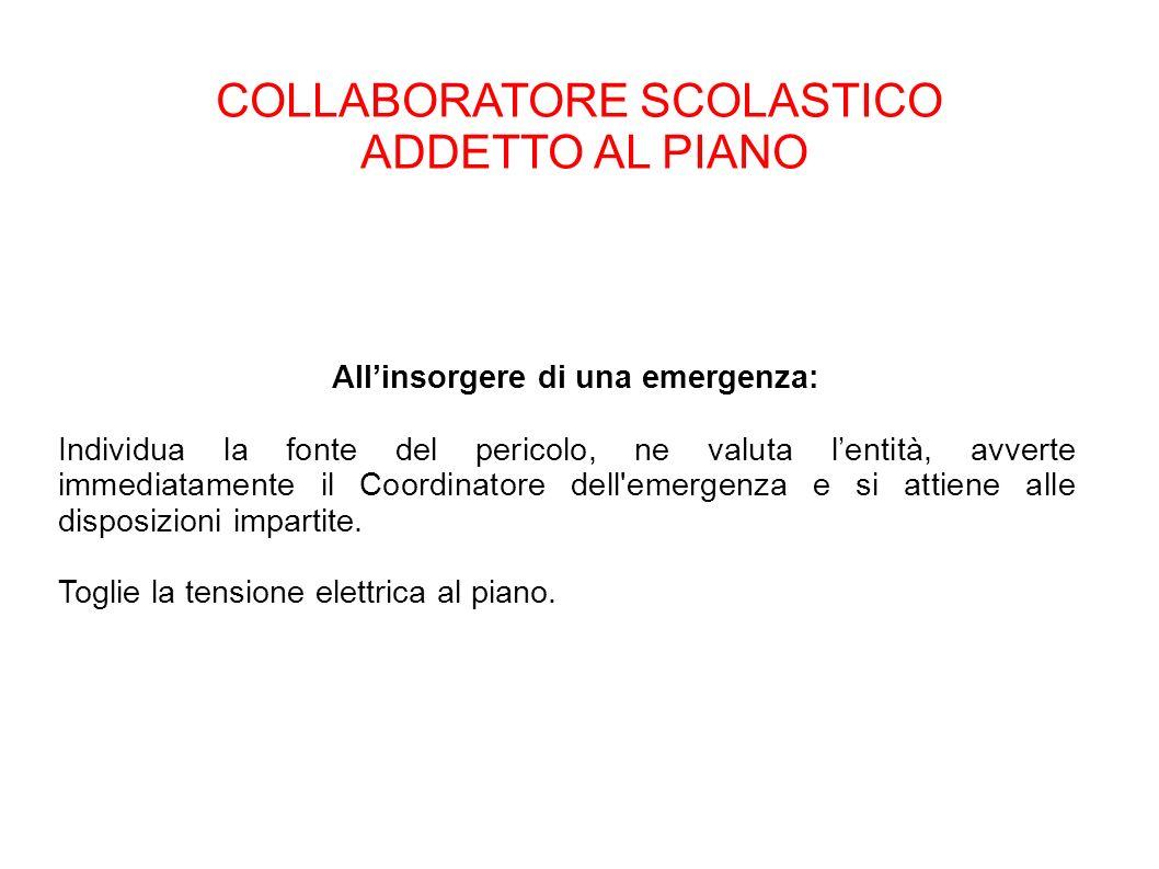 COLLABORATORE SCOLASTICO ADDETTO AL PIANO